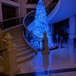 Stairs leading to the business floor decorated with a Christmas Tree