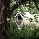 een boothuis in de tuin