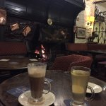 Hot drinks by the fire on a cold day