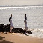 Yoga by beach