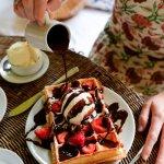 Tea time with Belgian waffles (photo credit @stacieflinner)