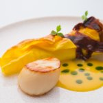 Grilled lasagne of scallop and Atlantic crab, pickled seaweed butter, red dulse (297859575)