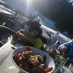 Ski break on sunny terace