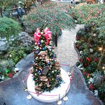 Atrium falls area at the holidays