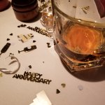 Anniversary confetti and Johnnie Walker Double Black