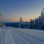 Groomed corduroy snow on a Gore Mountain morning.