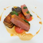 Duck Breast, Confit Legs, Brioche and Smoked Egg Yolk with Port Sauce