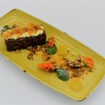 Carrot Cake, Orange Cream Cheese, Walnut Praline, Carrot Crisps, Orange & Ginger Jelly and Syrup