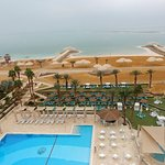 The swimming pool and the Dead Sea, viewed from the 6'th floor of Herrod's.