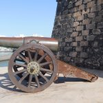 Late 19th Century artillery piece outside castle