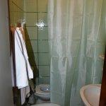 La tenda della doccia copre il water
