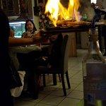 Gambas flambées au saké