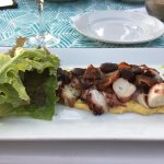 The sunset—the food (grilled pulpo and panna cotta)