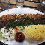 """This was my meal """"special of the night"""" Lamb with walnuts and Chicken."""