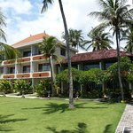 Lawn with hotel rooms