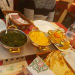 Palak Saag on the left, Middle one cant remember end one is Chicken Biryani Rice