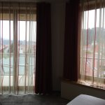 Balcony through L window, castle views through R window