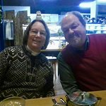 Yours truly and Susan at the Wildflour Restaurant and Bakery. Baked items were in the case behin