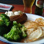 Wild-Caught Flounder w/ Seasoned Broccoli, Baked Potato