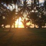 Sunrise in front of villa