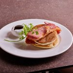Breakfast - American Style Pancakes with Bacon and Maple Syrup