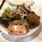 Creole platter (accras de morue, boudin blood sausage, stuffed crab