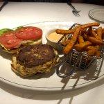 Lobster & shrimp burger with sweet potato fries
