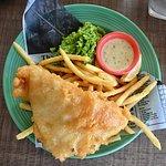 Fish, n chips, n mushy peas with tartar sauce
