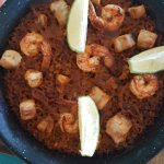 Authentic Andalusian black bottom seafood paella
