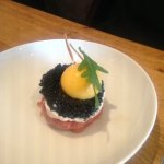 First starter: beef tartare and beef carpaccio with egg yolk and caviar