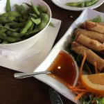 Side of edamame and spring rolls w/sweet and sour sauce.