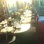 Closer view of the dining area all set up. Beautiful serving ware they used.