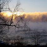 Sea smoke on Lake Superior- taken from our room