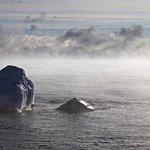 Sea smoke on Lake Superior- on the point