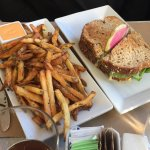 Chicken salad sandwich, fries and sriracha mayo. A sliver of watermelon radish for art!