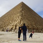 My boyfriend and I in awe of the Great Pyramid. It was so much bigger and grander than I anticip