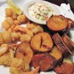 Tom's Saint Augustine Shrimp with home fries & coleslaw.