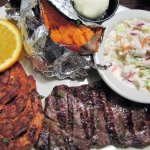 Blackened shrimp, 6 oz steak & sides.