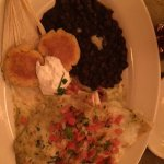 Stuffed Chimichangas with black beans and corn cakes