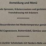 Serviertes Menü am 7.1.2018