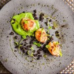 Scallops with black pudding and pea puree