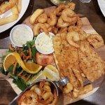 seafood platter, crumb garfish,squid,prawns,char grilled chilli prawns