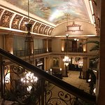 Lobby, check in, and ceiling painting from grand staircase