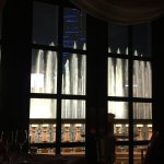Bellagio Fountains from our taable at the Picasso Restaurant at the Bellagio Hotel