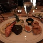 Surf and Turf - small filet mignon, 1/2 lobster tail, 3 coconut shrimp