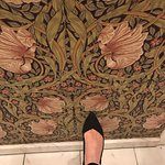 William Morris wallpaper/marble tile in lobby bathroom; photography not allowed in public spaces