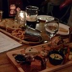 Duck and Rabbit platter (for two) and duck grilled cheese with fries.