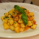 Gnocchi with mixed seafood.