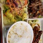 Teriyaki salmon and beef
