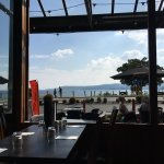 View from our table across Lake Taupo